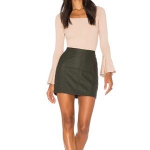 NWT Free People Green Leather Skirt